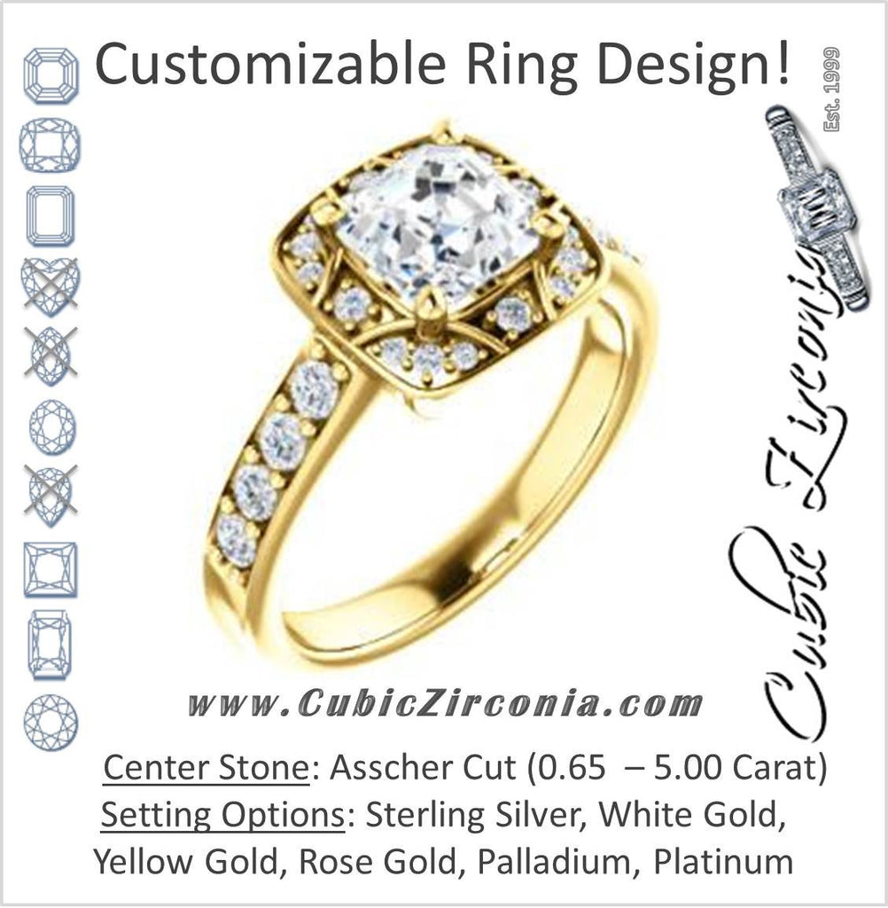 Cubic Zirconia Engagement Ring- The Payton (Customizable Asscher Cut with Segmented Cluster-Halo and Large-Accented Band)