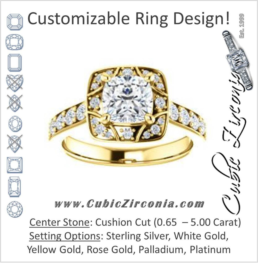 Cubic Zirconia Engagement Ring- The Payton (Customizable Cushion Cut with Segmented Cluster-Halo and Large-Accented Band)