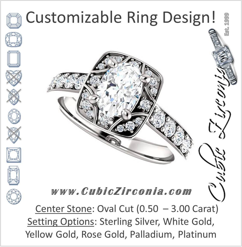 Cubic Zirconia Engagement Ring- The Payton (Customizable Oval Cut with Segmented Cluster-Halo and Large-Accented Band)
