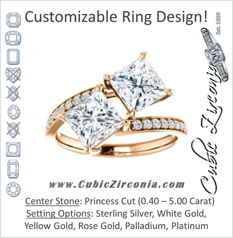 Cubic Zirconia Engagement Ring- The Phoebe (Customizable Enhanced 2-stone Double Princess Cut Design With Round Pavé Band)