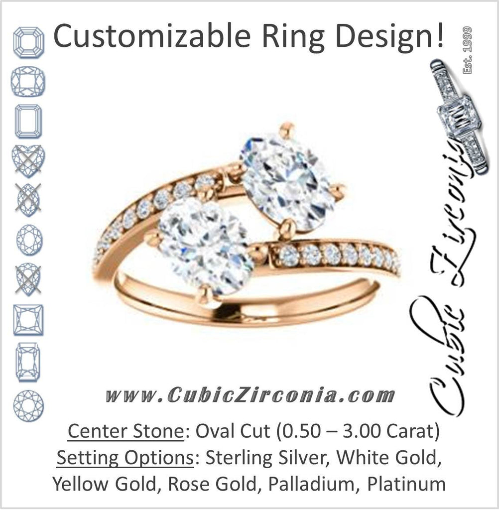 Cubic Zirconia Engagement Ring- The Phoebe (Customizable Enhanced 2-stone Double Oval Cut Design With Round Pavé Band)