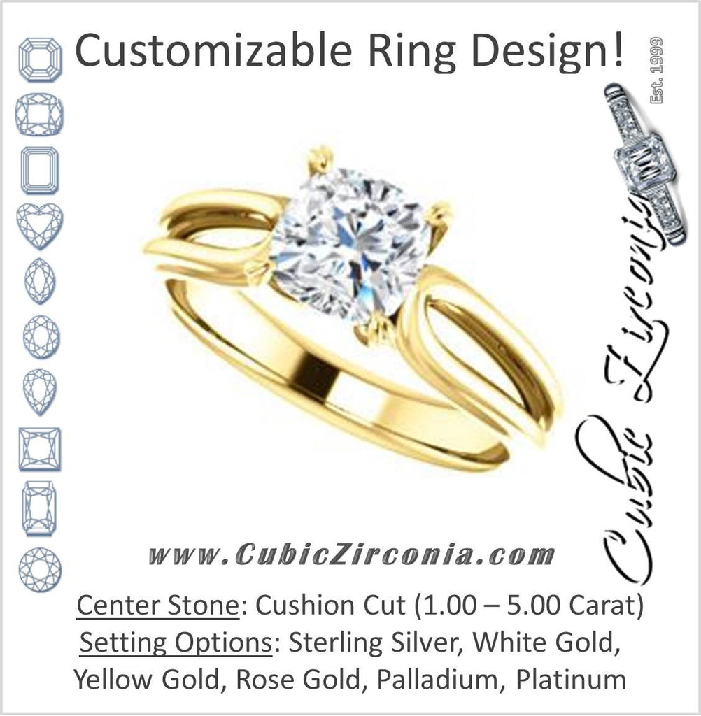 Cubic Zirconia Engagement Ring- The Piper (Customizable Cushion Cut Solitaire with Flared Split-band)