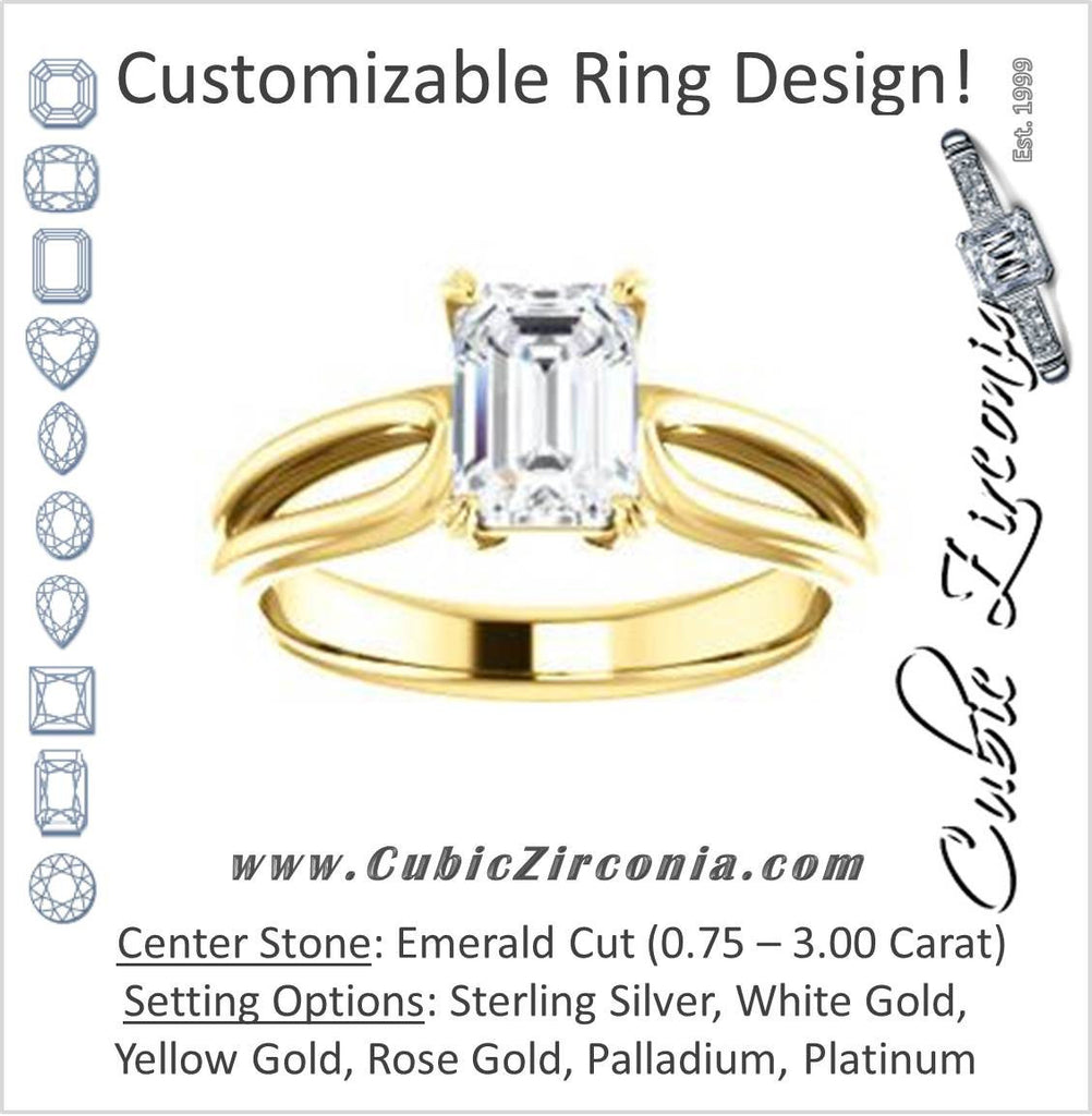 Cubic Zirconia Engagement Ring- The Piper (Customizable Emerald Cut Solitaire with Flared Split-band)
