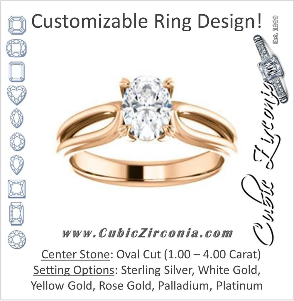 Cubic Zirconia Engagement Ring- The Piper (Customizable Oval Cut Solitaire with Flared Split-band)