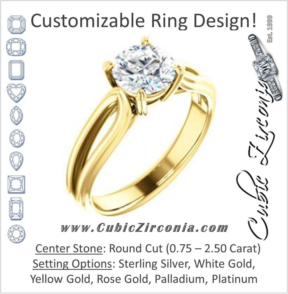 Cubic Zirconia Engagement Ring- The Piper (Customizable Round Cut Solitaire with Flared Split-band)