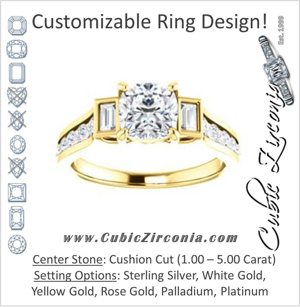 Cubic Zirconia Engagement Ring- The Portia (Customizable Cushion Cut 15-stone Design)