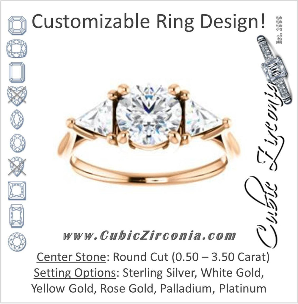 Cubic Zirconia Engagement Ring- The Prisma (Classic Three-Stone Triangle Accent and Round Cut center)