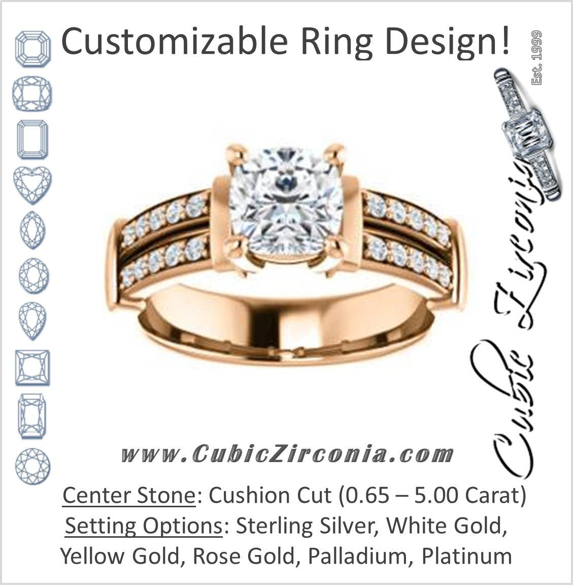 Cubic Zirconia Engagement Ring The Rachana Customizable Cushion Cut Design With Wide Split Pave Band And Euro Shank