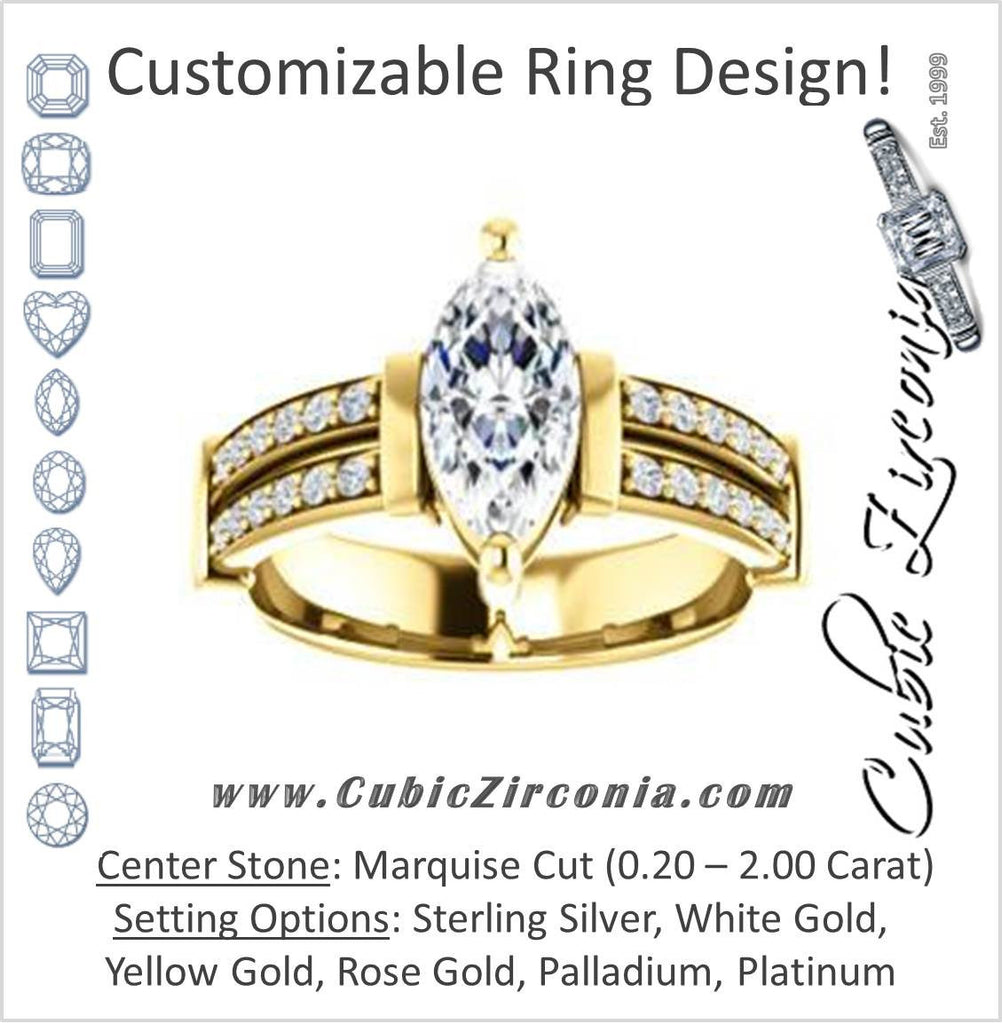 Cubic Zirconia Engagement Ring- The Rachana (Customizable Marquise Cut Design with Wide Split-Pavé Band and Euro Shank)