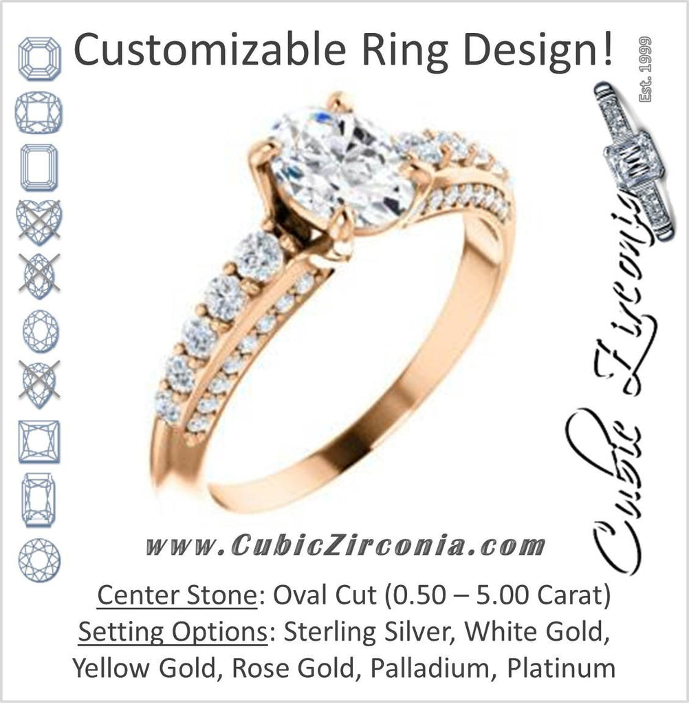 Cubic Zirconia Engagement Ring- The Rachelle (Customizable Oval Cut with 3-Sided Round Prong Side Stones)