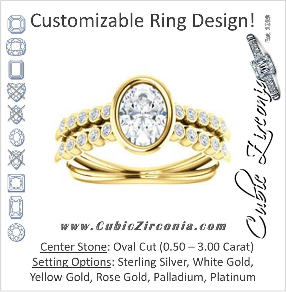 Cubic Zirconia Engagement Ring- The Rafaella (Customizable Bezel-set Oval Cut Design with Round Bezel Accented Split Band)