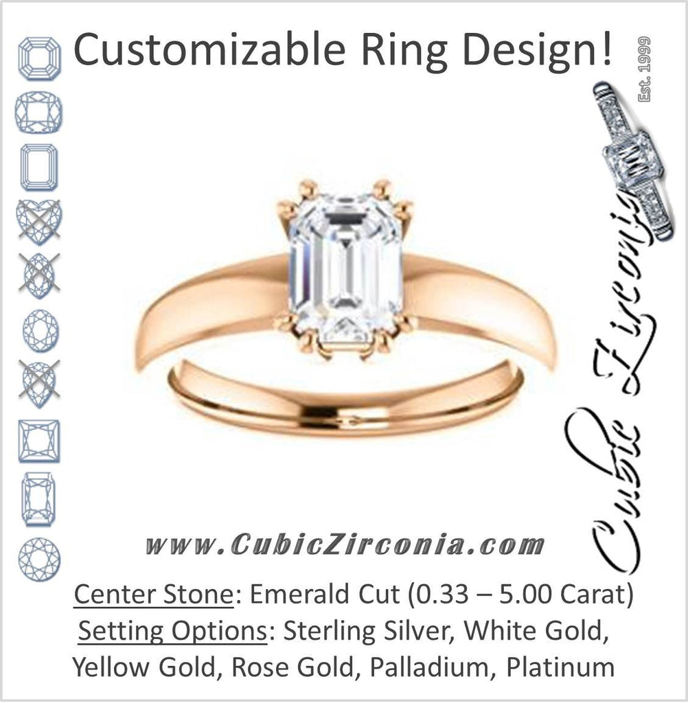 Cubic Zirconia Engagement Ring- The Reba (Customizable 8-pronged Emerald Cut Solitaire with Wide Band)