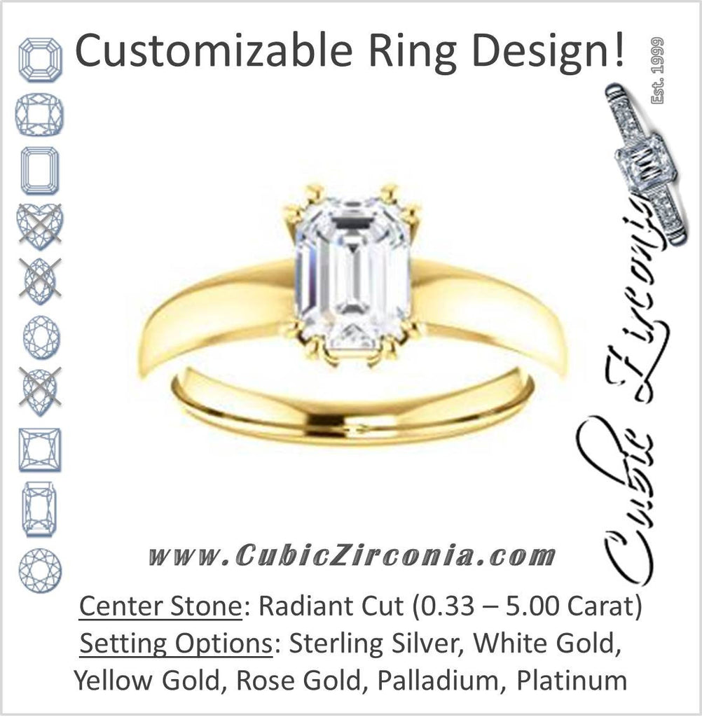 Cubic Zirconia Engagement Ring- The Reba (Customizable 8-pronged Radiant Cut Solitaire with Wide Band)