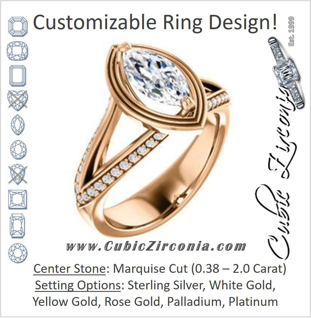 Cubic Zirconia Engagement Ring- The Reina (Customizable Ridged-Bevel Surrounded Marquise Cut with 3-sided Split-Pavé Band)