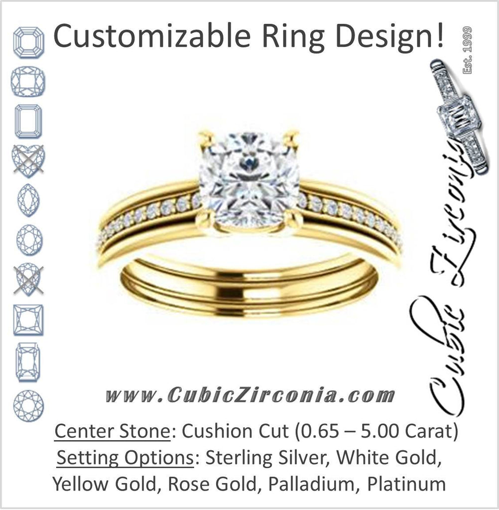 Cubic Zirconia Engagement Ring- The Rikki (Customizable Cushion Cut Design with Double-Grooved Pavé Band)