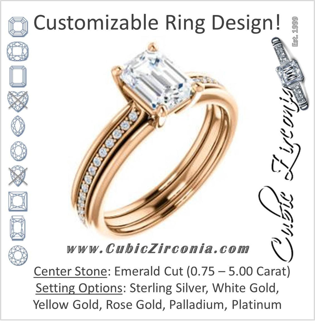 Cubic Zirconia Engagement Ring- The Rikki (Customizable Emerald Cut Design with Double-Grooved Pavé Band)