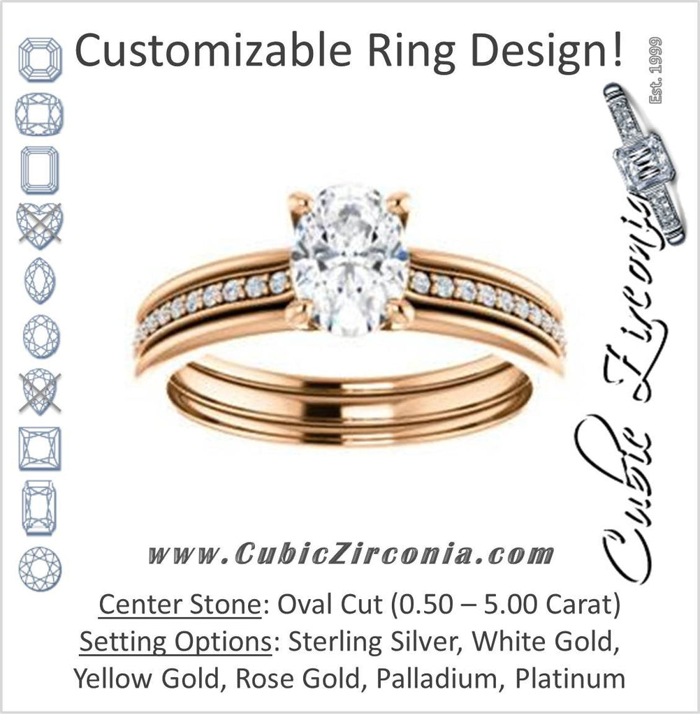 Cubic Zirconia Engagement Ring- The Rikki (Customizable Oval Cut Design with Double-Grooved Pavé Band)