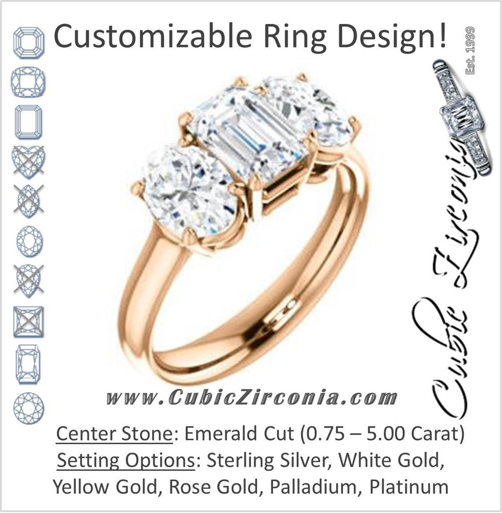 Cubic Zirconia Engagement Ring- The Rita (Customizable Emerald Cut Three-stone Style with Dual Oval Cut Accents)