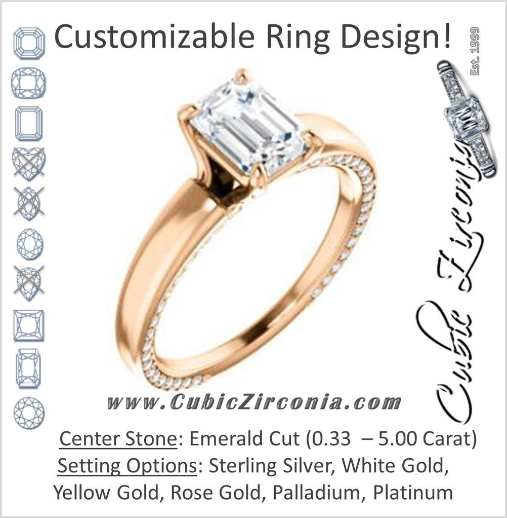 Cubic Zirconia Engagement Ring- The Rosalina (Customizable Emerald Cut with Three-sided Pavé Band)
