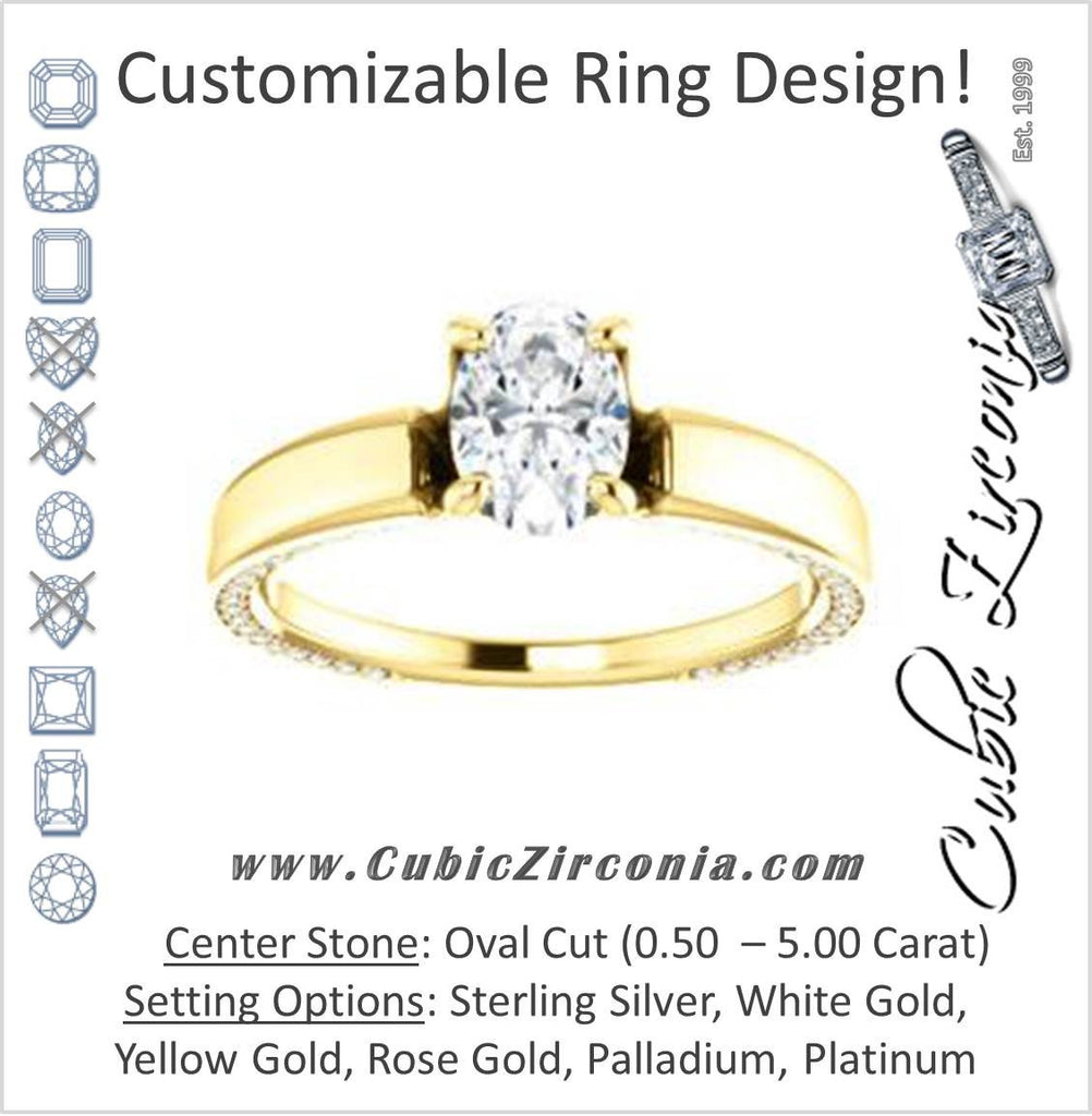 Cubic Zirconia Engagement Ring- The Rosalina (Customizable Oval Cut with Three-sided Pavé Band)