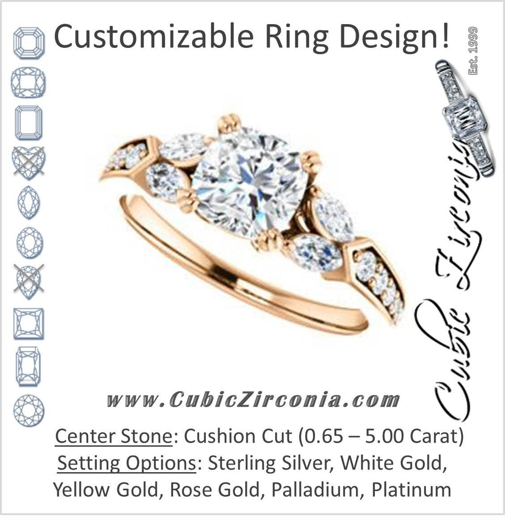 Cubic Zirconia Engagement Ring- The Rosalyn (Customizable Cushion Cut with Marquise Accent Butterflies and Round Channel)