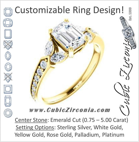 Cubic Zirconia Engagement Ring- The Rosalyn (Customizable Emerald Cut with Marquise Accent Butterflies and Round Channel)
