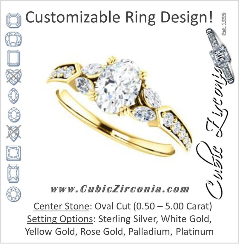 Cubic Zirconia Engagement Ring- The Rosalyn (Customizable Oval Cut with Marquise Accent Butterflies and Round Channel)