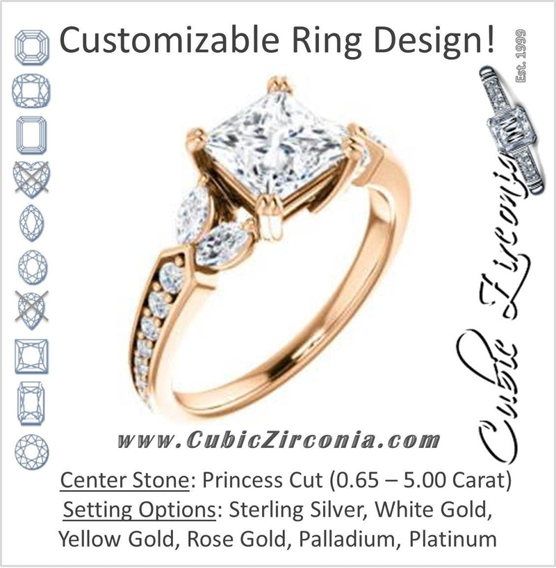 Cubic Zirconia Engagement Ring- The Rosalyn (Customizable Princess Cut with Marquise Accent Butterflies and Round Channel)