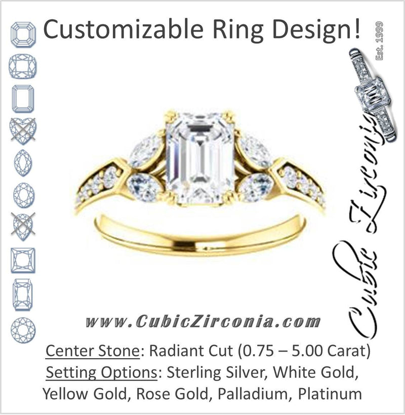 Cubic Zirconia Engagement Ring- The Rosalyn (Customizable Radiant Cut with Marquise Accent Butterflies and Round Channel)