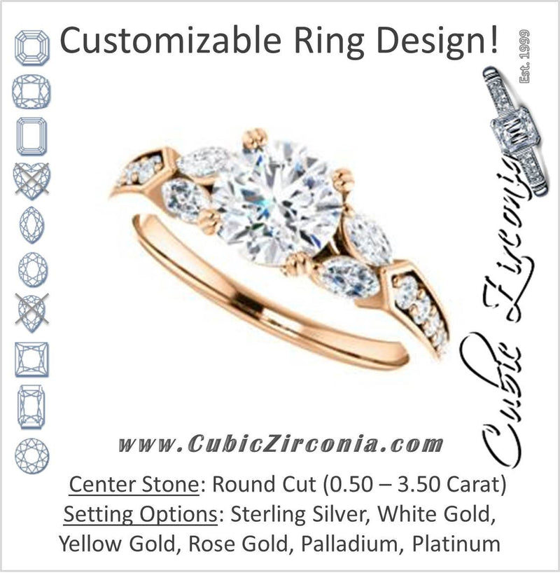 Cubic Zirconia Engagement Ring- The Rosalyn (Customizable Round Cut with Marquise Accent Butterflies and Round Channel)
