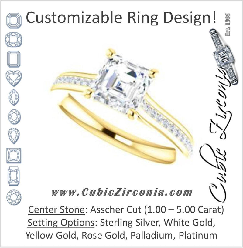 Cubic Zirconia Engagement Ring- The Rosario (Customizable Asscher Cut Cathedral Setting with 3/4 Pavé Band)