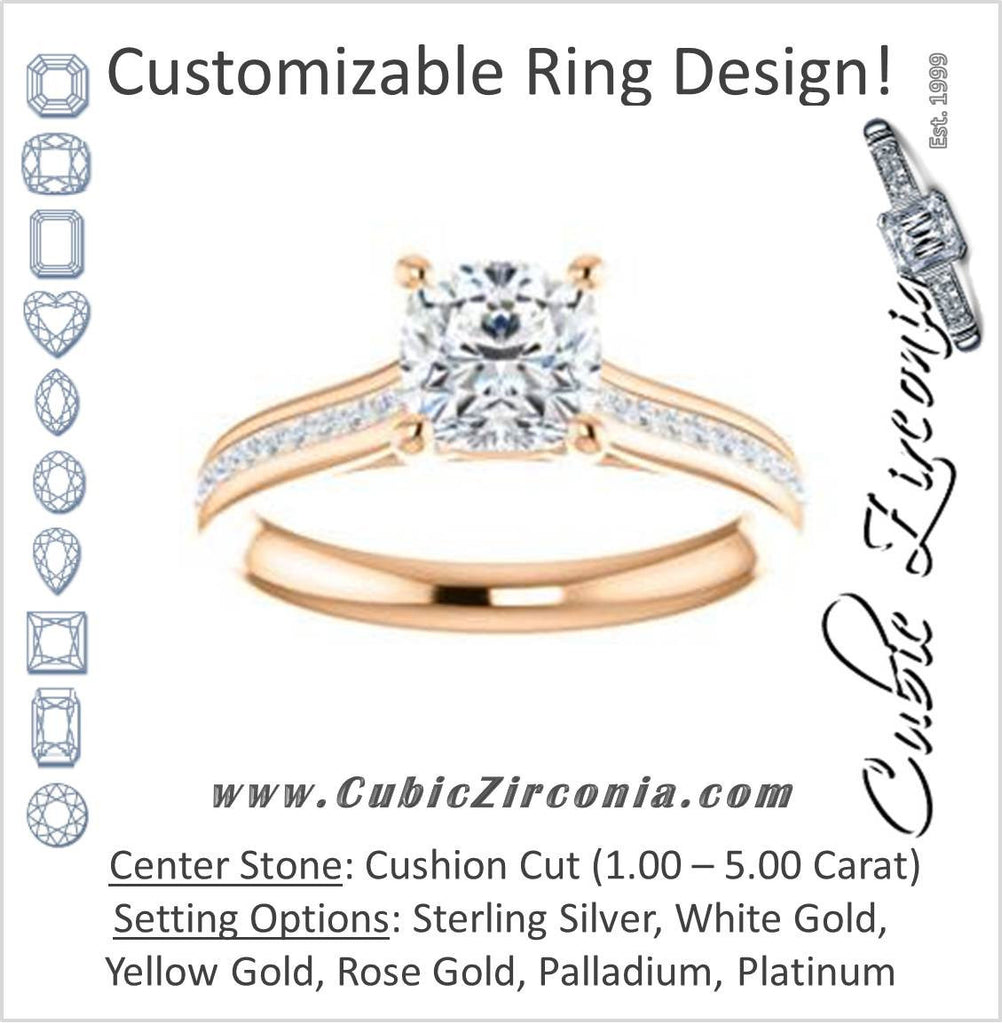 Cubic Zirconia Engagement Ring- The Rosario (Customizable Cushion Cut Cathedral Setting with 3/4 Pavé Band)