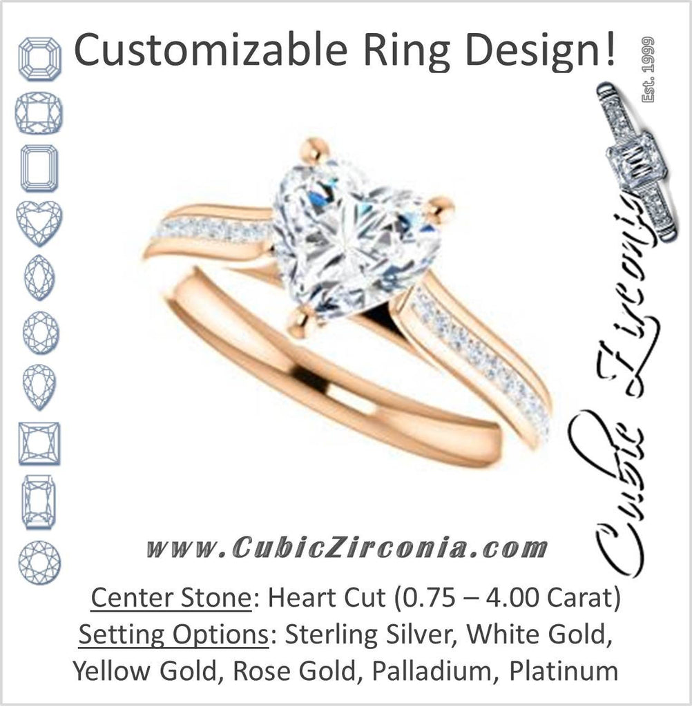 Cubic Zirconia Engagement Ring- The Rosario (Customizable Heart Cut Cathedral Setting with 3/4 Pavé Band)