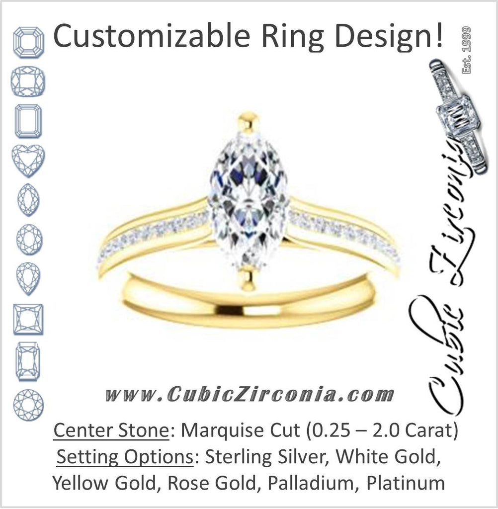 Cubic Zirconia Engagement Ring- The Rosario (Customizable Marquise Cut Cathedral Setting with 3/4 Pavé Band)