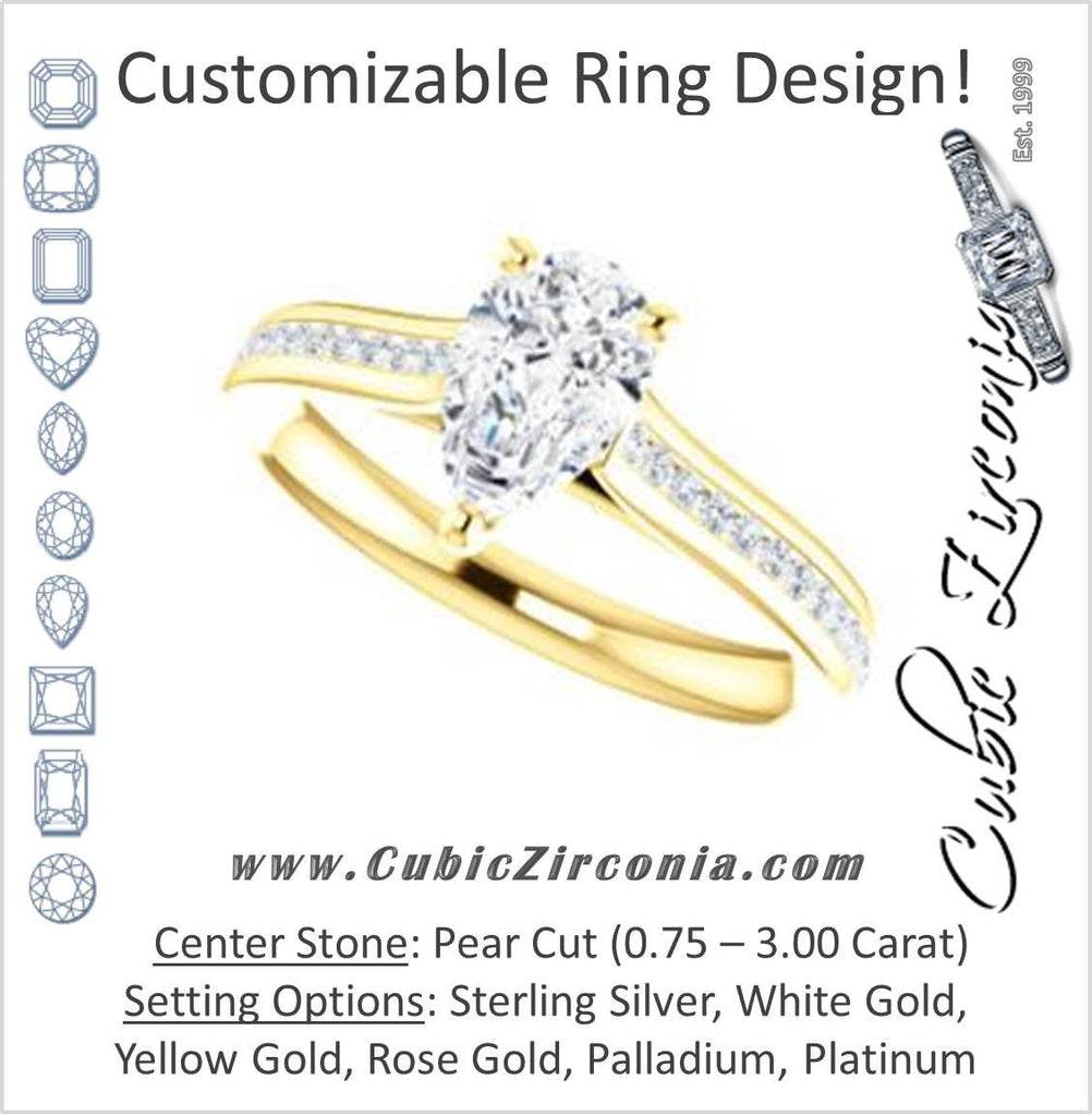Cubic Zirconia Engagement Ring- The Rosario (Customizable Pear Cut Cathedral Setting with 3/4 Pavé Band)