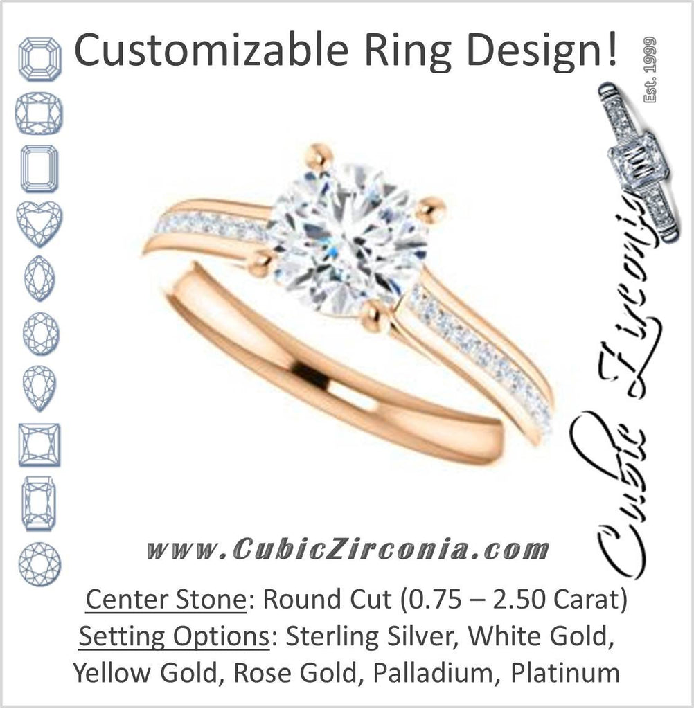 Cubic Zirconia Engagement Ring- The Rosario (Customizable Round Cut Cathedral Setting with 3/4 Pavé Band)