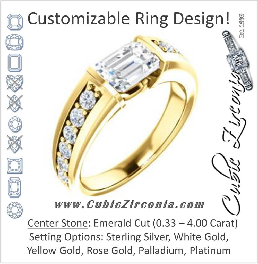 Cubic Zirconia Engagement Ring- The Rosemary (Customizable Emerald Cut Tension Bar Set with Wide Channel/Prong Band)