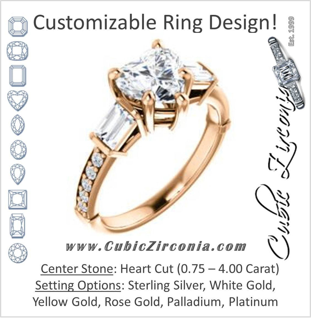 Cubic Zirconia Engagement Ring- The Rosetta (Customizable Heart Cut Enhanced 5-stone Design with Pavé Band)