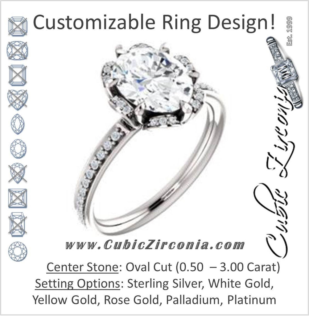 Cubic Zirconia Engagement Ring- The Rosie (Customizable Oval Cut Style with Floral-Inspired Halo and Extra-Thin Pavé Band)