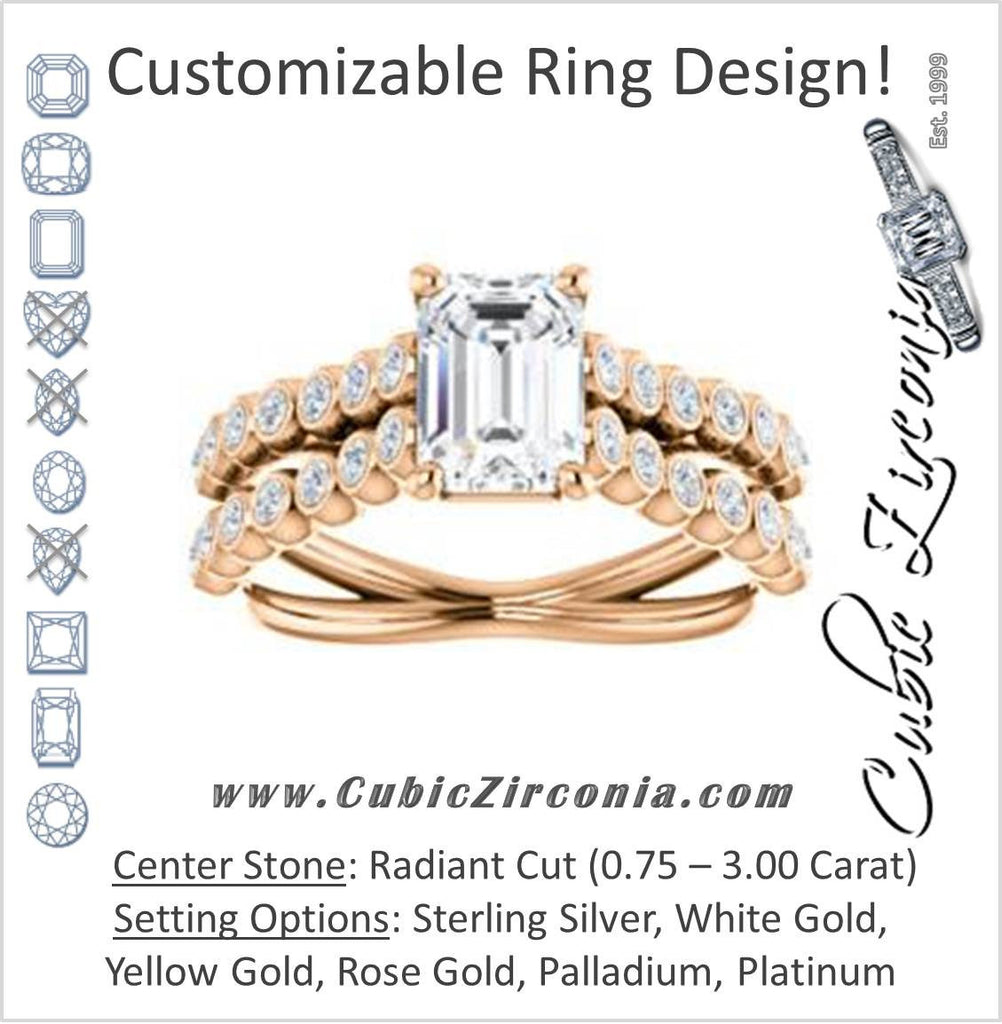 Cubic Zirconia Engagement Ring- The Roxana (Customizable Radiant Cut Design with Beaded-Bezel Round Accents on Wide Split Band)