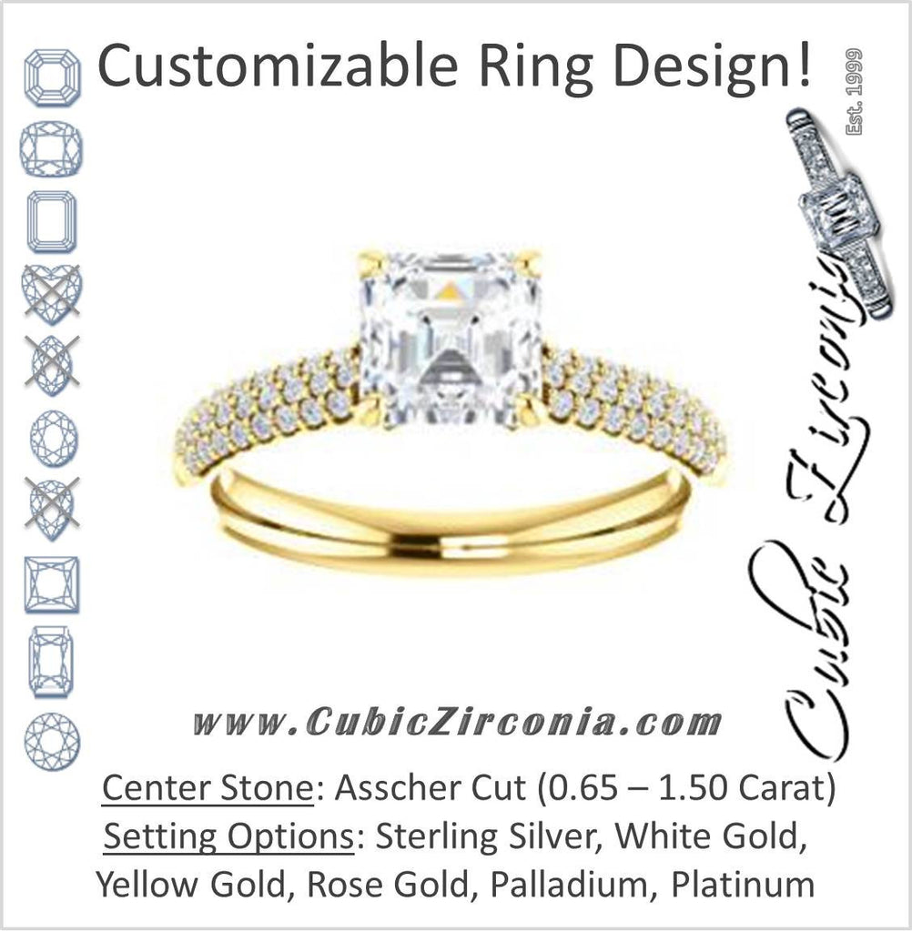 Cubic Zirconia Engagement Ring- The Roxy Edith (Customizable Asscher Cut Center with Stackable Triple Pavé Band)