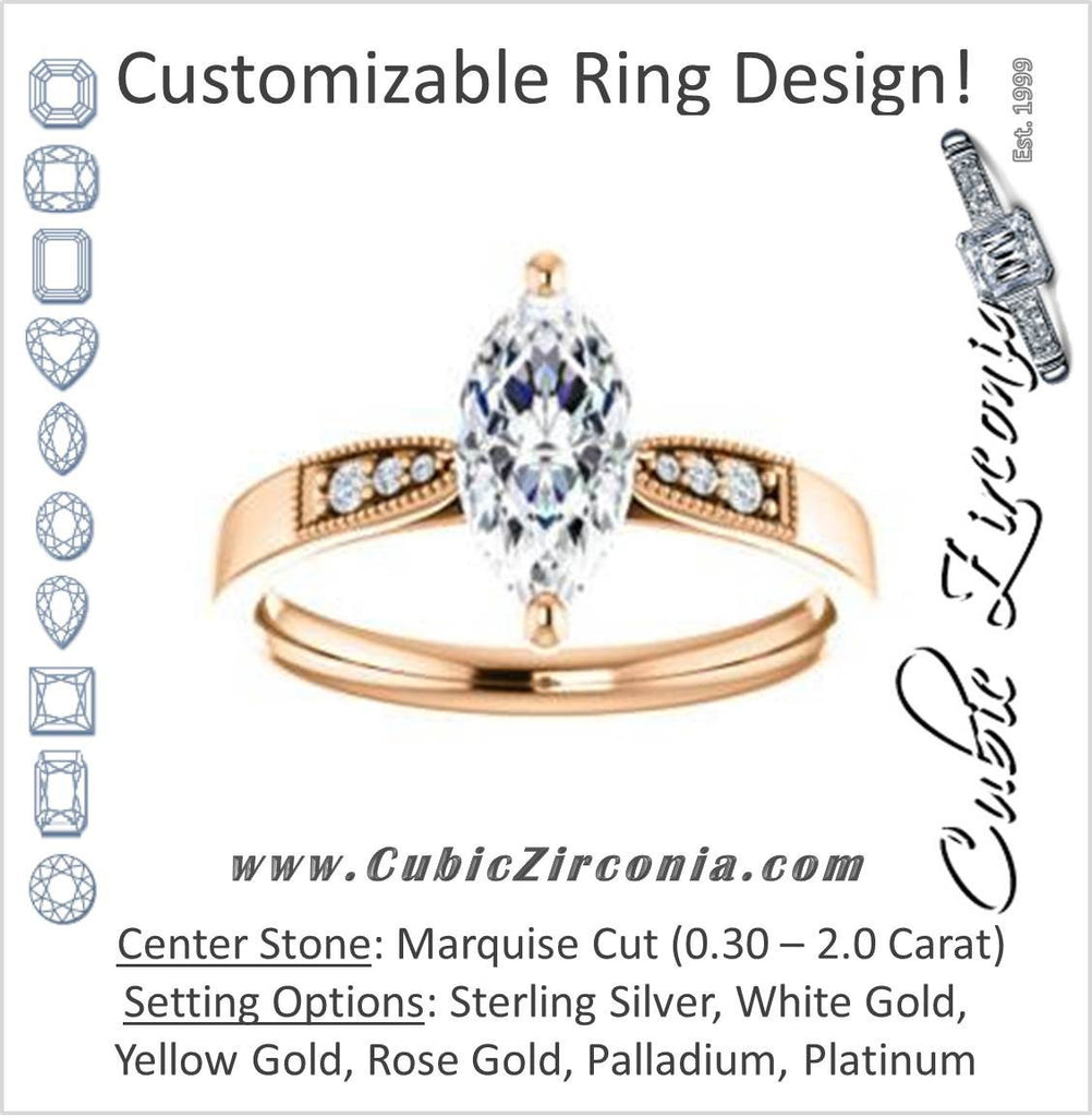 Cubic Zirconia Engagement Ring- The Ruth (Customizable 7-stone Marquise Cut Style with Vintage Filigree)