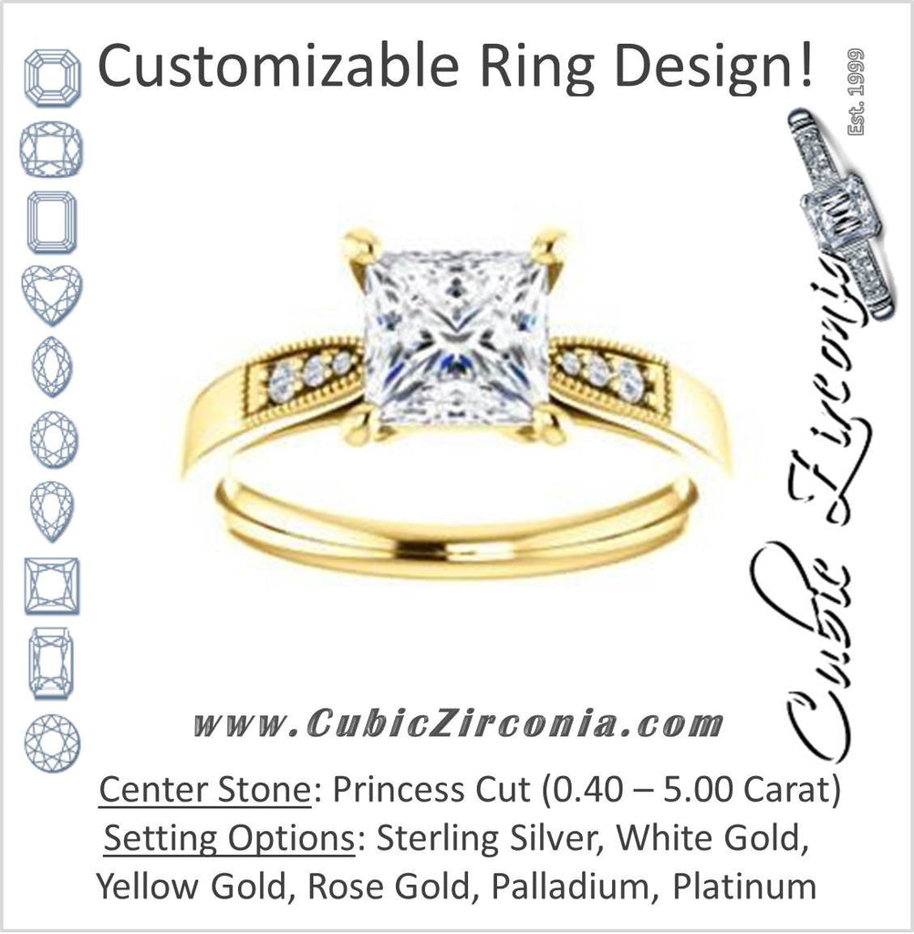 Cubic Zirconia Engagement Ring- The Ruth (Customizable 7-stone Princess Cut Style with Vintage Filigree)