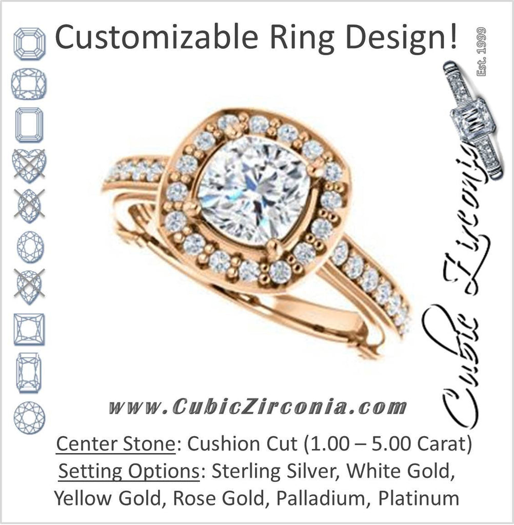 Cubic Zirconia Engagement Ring- The Sally (Customizable Halo-Cushion Cut Design with Round Side Knuckle and Pavé Band Accents)