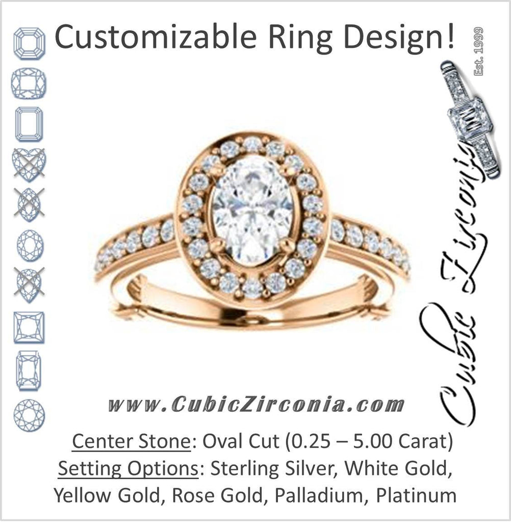 Cubic Zirconia Engagement Ring- The Sally (Customizable Halo-Oval Cut Design with Round Side Knuckle and Pavé Band Accents)