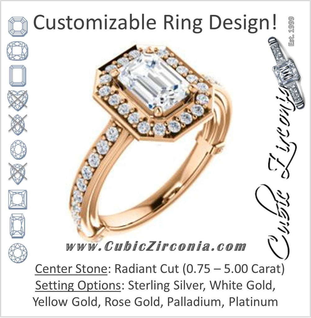 Cubic Zirconia Engagement Ring- The Sally (Customizable Halo-Radiant Cut Design with Round Side Knuckle and Pavé Band Accents)