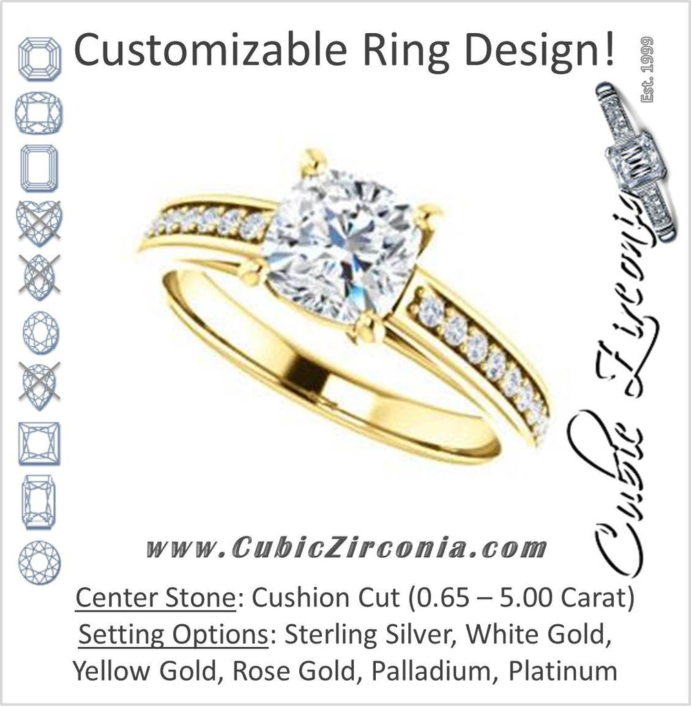 Cubic Zirconia Engagement Ring- The Samantha (Customizable Cushion and Cathedral Channel/Prong Band)
