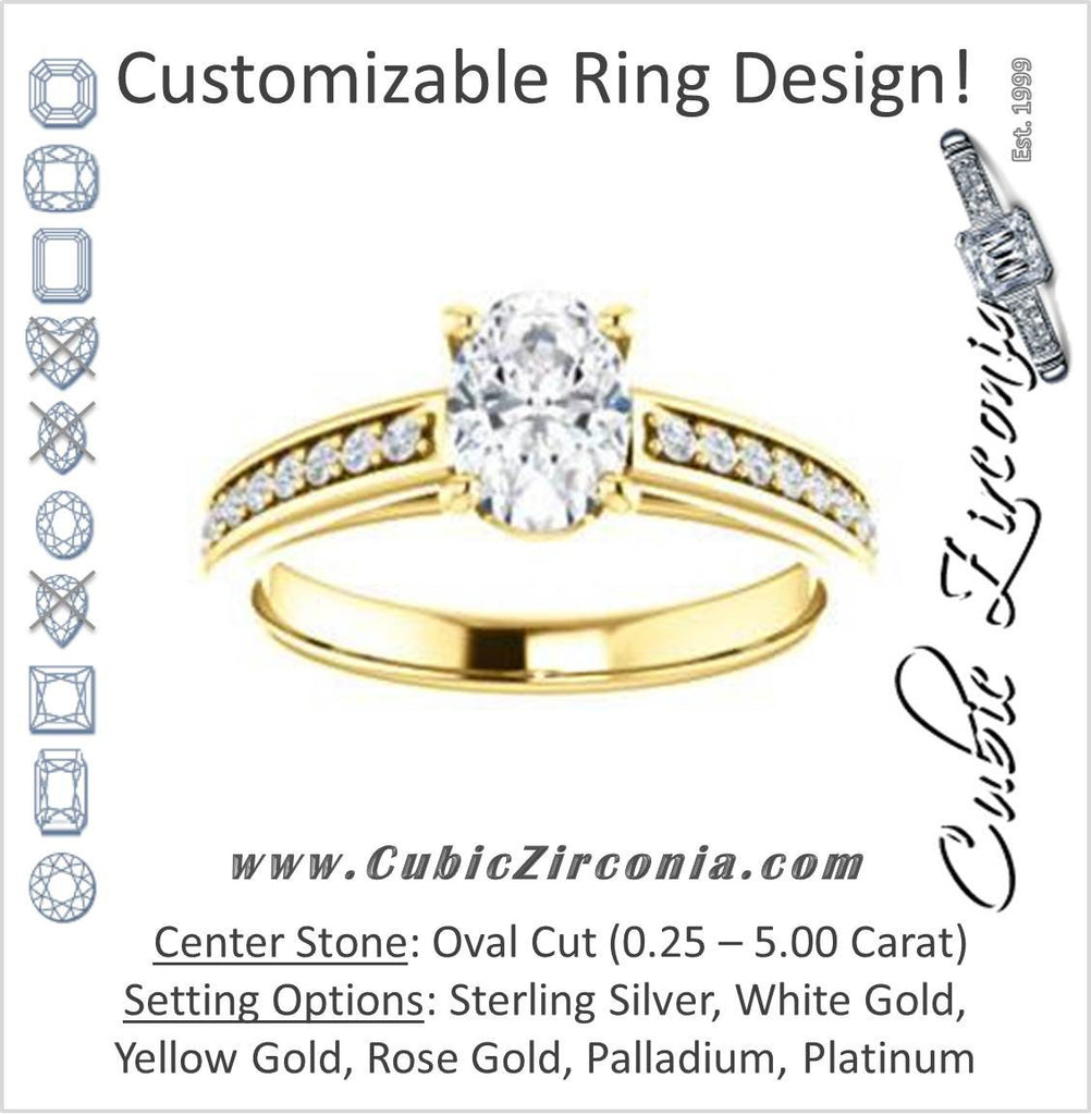 Cubic Zirconia Engagement Ring- The Samantha (Customizable Oval and Cathedral Channel/Prong Band)