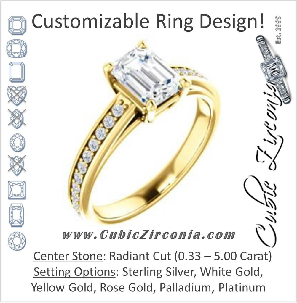 Cubic Zirconia Engagement Ring- The Samantha (Customizable Radiant and Cathedral Channel/Prong Band)