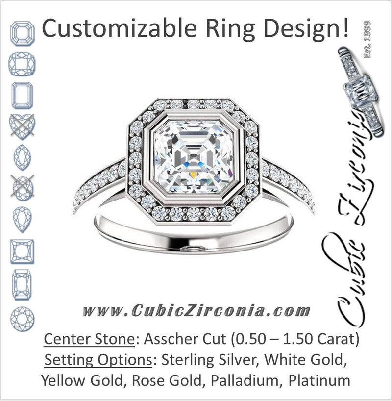 Cubic Zirconia Engagement Ring- The Samira (Customizable Halo-style Asscher Cut with Under-Halo Trellis and Thin Pavé Band)